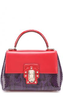 Сумка Lucia с отделкой из кожи питона и каймана Dolce & Gabbana