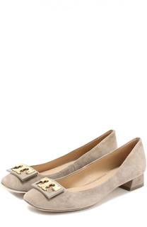 Замшевые туфли с пряжкой на низком каблуке Tory Burch
