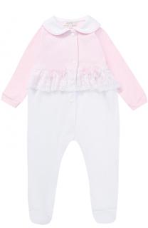 Хлопковая пижама с кружевной отделкой и декором Aletta