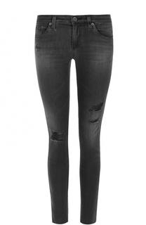 Укороченные джинсы-скинни с потертостями Ag