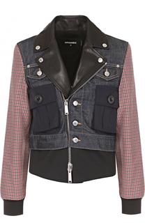 Комбинированная куртка с косой молнией Dsquared2