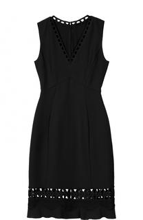 Платье-миди с V-образным вырезом и перфорацией Elie Tahari
