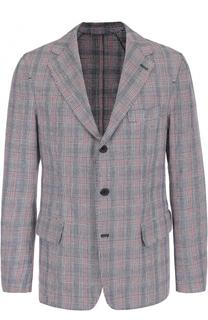 Однобортный пиджак в клетку из смеси хлопка и льна 120% Lino