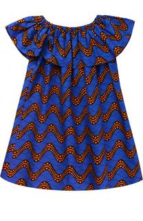 Хлопковое платье свободного кроя с принтом Stella Jean