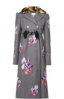 Приталенное пальто с цветочной вышивкой и меховым воротником Kenzo