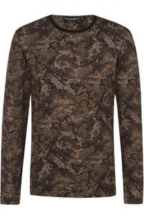 Хлопковый лонгслив с камуфляжным принтом Dolce & Gabbana