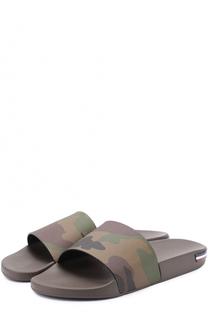 Резиновые шлепанцы с камуфляжным принтом Moncler