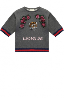 Свитшот с пайетками и контрастными манжетами Gucci