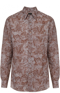 Рубашка из смеси льна и хлопка с принтом Ermenegildo Zegna