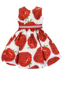 Хлопковое платье с принтом и поясом со стразами Monnalisa