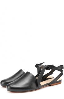 Кожаные балетки с ремешками на щиколотке Alexandre Birman