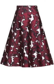 Шелковая расклешенная юбка с цветочным принтом Oscar de la Renta