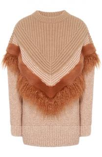 Удлиненный пуловер фактурной вязки с декоративной отделкой Stella McCartney