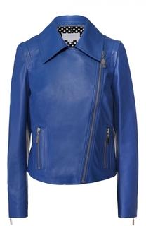 Кожаная куртка с косой молнией и отложным воротником Escada Sport