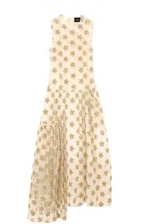 Платье асимметричного кроя с фактурной отделкой в виде звезд Simone Rocha