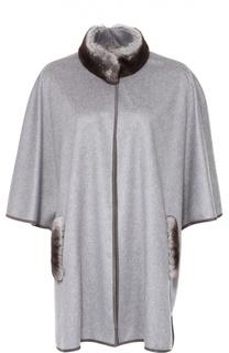 Кашемировое пальто с укороченным рукавом и меховой отделкой Colombo