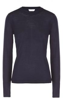 Приталенный пуловер с длинным рукавом и круглым вырезом BOSS