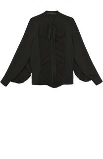 Шелковая блуза с воротником аскот и плиссированными оборками Elie Saab