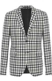 Шерстяной приталенный пиджак в клетку Valentino