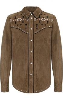Замшевая рубашка на кнопках с декоративной отделкой Valentino