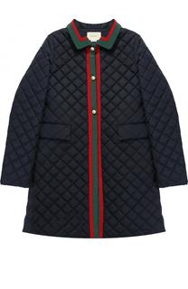Стеганой пальто с контрастной отделкой Gucci