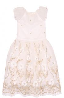 Платье с вышивкой и декоративной аппликацией David Charles