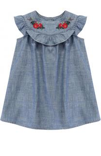 Хлопковое платье свободного кроя с вышивками и оборкой Gucci