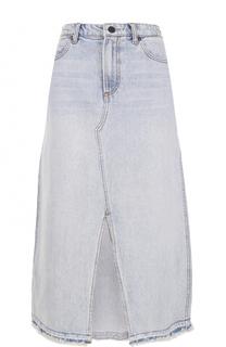 Джинсовая юбка-миди с высоким разрезом Denim X Alexander Wang