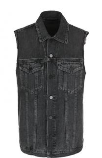 Удлиненный джинсовый жилет с потертостями Denim X Alexander Wang