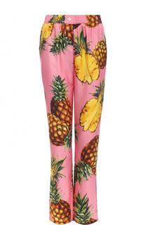 Шелковые брюки с принтом в виде ананасов Dolce & Gabbana