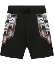Хлопковые шорты с принтом и эластичным поясом Marcelo Burlon Kids of Milan