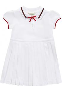 Хлопковое платье с плиссировкой и контрастной отделкой Gucci