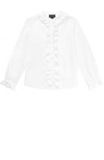 Хлопковая блуза с оборками Oscar de la Renta