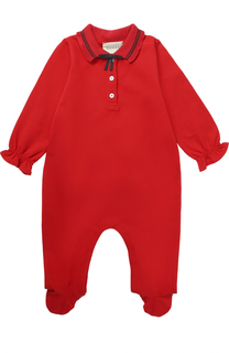 Пижама из эластичного хлопка с контрастной отделкой и бантом Gucci