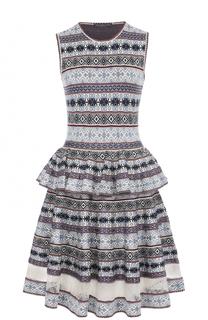 Платье-миди с принтом и баской Alexander McQueen