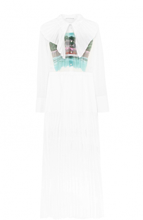Платье-макси с плиссированной юбкой и принтом Marco de Vincenzo