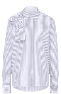 Хлопковая блуза прямого кроя в полоску Victoria by Victoria Beckham
