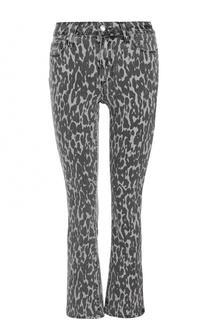 Укороченные расклешенные джинсы с принтом Paige