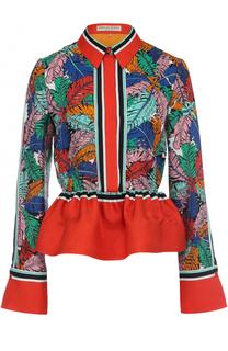 Шелковая блуза с ярким принтом и баской Emilio Pucci