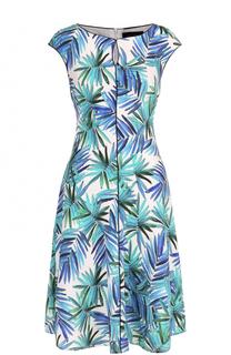 Шелковое приталенное платье с ярким принтом St. John
