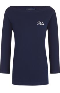 Лонгслив с вырезом-лодочка и контрастной вышивкой Polo Ralph Lauren