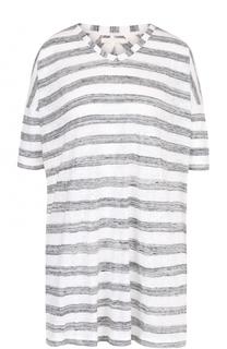 Удлиненная льняная футболка в полоску 5PREVIEW
