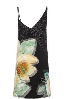 Шелковое платье с цветочным принтом и пайетками Lanvin
