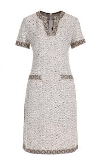 Буклированное платье-миди с карманами St. John