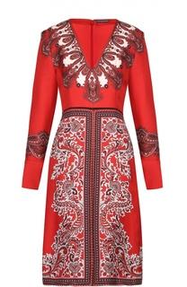 Приталенное шелковое платье с контрастным принтом Alexander McQueen