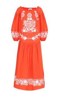 Хлопковое платье-миди с контрастной вышивкой Blugirl