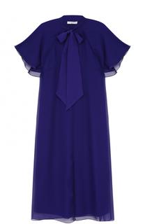 Платье-миди с воротником аскот Lanvin