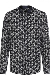Рубашка на молнии из смеси вискозы и шелка Giorgio Armani