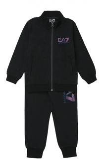Хлопковый спортивный костюм с контрастной надписью Ea 7