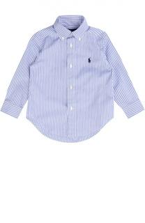 Хлопковая рубашка в полоску с воротником button down Polo Ralph Lauren